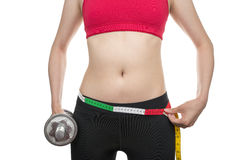 Slim waist with dumbbells Stock Photography
