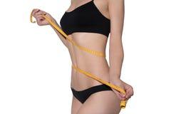 Slim woman body in black underwear measurement on white backgroud. Slim woman body in black underwear measurement on white Stock Images