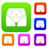 Slim woman body in panties set collection Royalty Free Stock Image