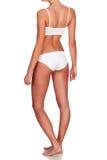 Slim woman body on white background Stock Photos