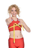 Slim woman breast measuring Stock Images