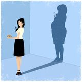 Slim woman casting fat woman shadow Royalty Free Stock Photography