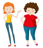 Slim woman and chubby woman. Illustration Royalty Free Stock Photo