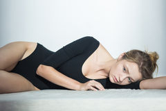 Slim woman with complexes Stock Photos
