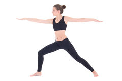 Slim woman doing yoga or aerobics isolated on white Stock Image