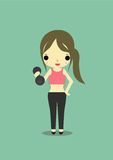 Slim woman. On green background carry dumbbell with her right hand Royalty Free Stock Photos