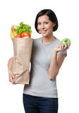 Slim woman with healthy food Stock Photo
