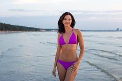 Free Slim Woman In Bikini Posing Over Sea Background Royalty Free Stock Image - 59615376