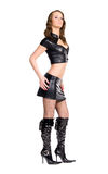 Slim woman in leather sexy clothing Stock Photos