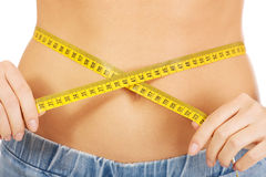 Slim woman measuring her waist. Stock Photography