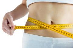 Slim woman measuring her waist Royalty Free Stock Image