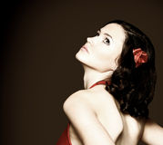 slim woman in red dress Royalty Free Stock Images