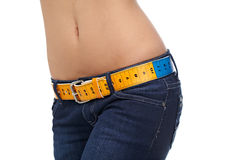Slim woman's abdomen Stock Photo