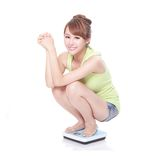 Slim woman with scales Stock Image