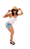 Slim woman in shorts. Stock Photos