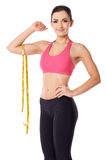 Slim woman with a tape measure Stock Photo