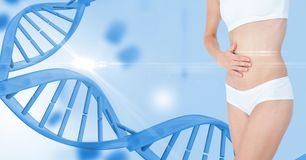 Slim woman in undergarments by DNA structure. Digital composite of Slim woman in undergarments by DNA structure Stock Image