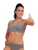 Slim woman in underwear with fitness body Stock Photos