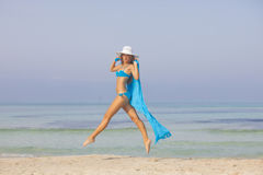 Slim woman on vacation or holiday stock photos