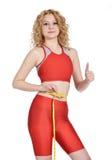 Slim woman waist measuring Stock Photography