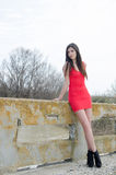 Slim woman wear short red dress and high heels Stock Photo