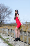 Slim woman wear short red dress and high heels Royalty Free Stock Image