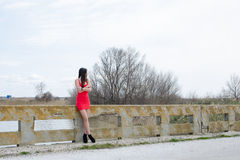 Slim woman wear short red dress and high heels Stock Photos