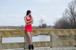 Slim woman wear short red dress and high heels Stock Photography