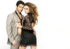Slim woman wearing nice dress and her stylish boyfriend Royalty Free Stock Images