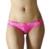 Slim woman wearing pink panties Stock Images