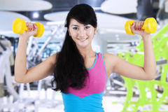 Slim woman workout with dumbbells Royalty Free Stock Photo