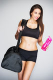 Slim Women Going Training Stock Images