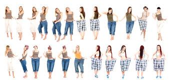 Slim women in loose clothes Royalty Free Stock Photo