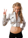 Slim young blonde in silver jacket Stock Image