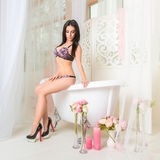 Slim young brunette woman posing in bathroom Stock Photography
