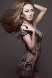 Slim young fashion model with long hair. Royalty Free Stock Images