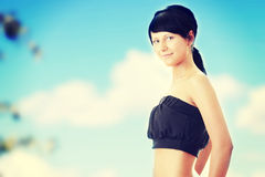 Slim young fitness woman Stock Photos