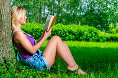 Slim young girl reading a book sitting near tree Royalty Free Stock Images