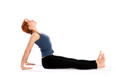 Slim Young Woman doing Back Stretching Exercise Stock Images