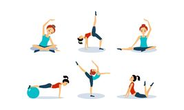 Slim young woman doing fitness workout, active healthy lifestyle concept vector Illustration on a white background. Slim young woman doing fitness workout stock illustration