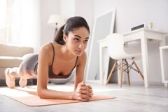 Slim young woman doing a plank exercise. Taking care of body. Charming slim woman doing a plank exercise on the mat in the living room while carrying out a daily royalty free stock image