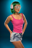 Slim Young Woman with Green Hair Portrait Royalty Free Stock Image