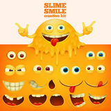 Slime yellow smiley face creative kit. Vector illustration Royalty Free Stock Images