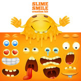 Slime yellow smiley face creative set. Vector illustration stock illustration
