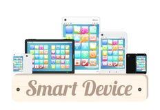 Slimme apparaten houten raad met slimme telefoon en tablet vector illustratie