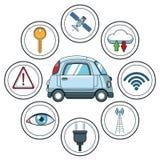 Slimme autosmarthphone app stock illustratie