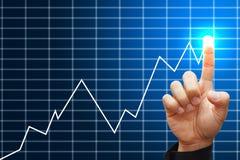 Slimme de groei hoge grafiek van de handpers Stock Afbeeldingen