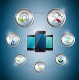 Slimme de optiecyclus van telefoonmontages, illustratie Stock Fotografie