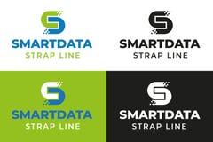 Slimme Digitale Gegevens Logo Template stock illustratie