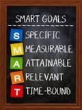 Slimme doelstellingen op bord stock foto